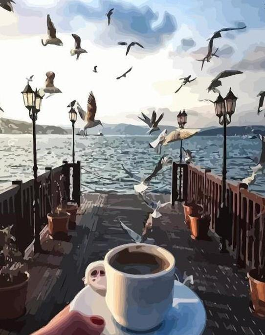 Coffee & Birds Paint by Numbers