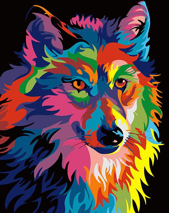 Colorful Wolf Paint by Numbers