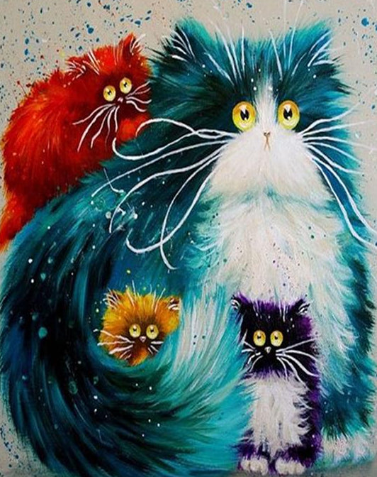 Colorful Cats Paint by Numbers