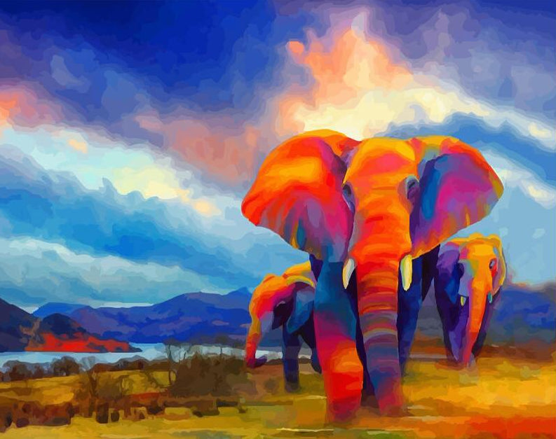 Elephants Paint by Numbers