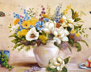 Colorful Floral Vase Paint by Numbers
