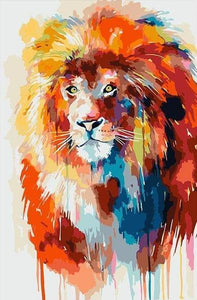Lion with Big Hair Paint by Numbers