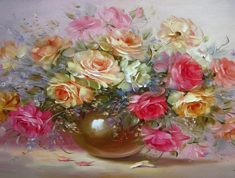 Colorful Roses Painting by Numbers