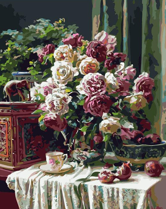 Roses in a Silver Vase Paint by Numbers
