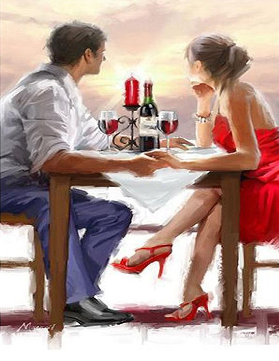 Couple Having Wine Paint by Numbers