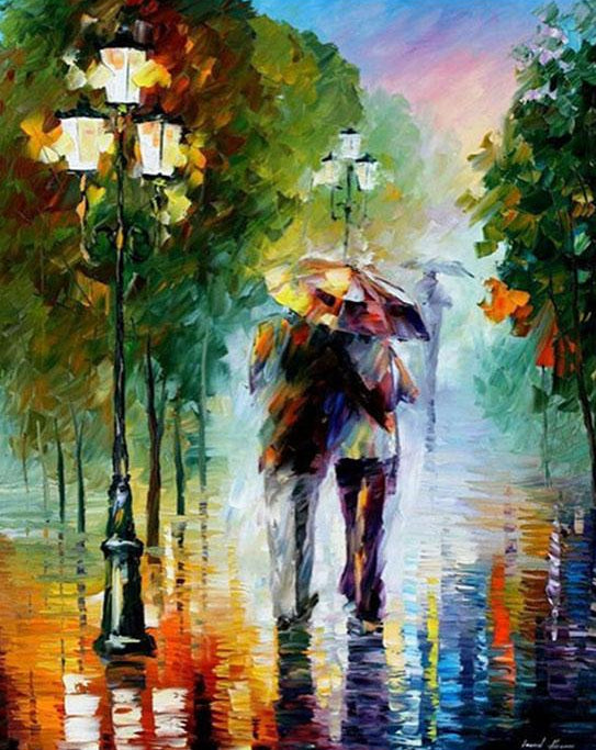 Couple Rain Walk Paint by Numbers