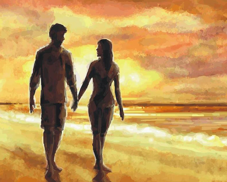 Couple on Beach Painting by Numbers