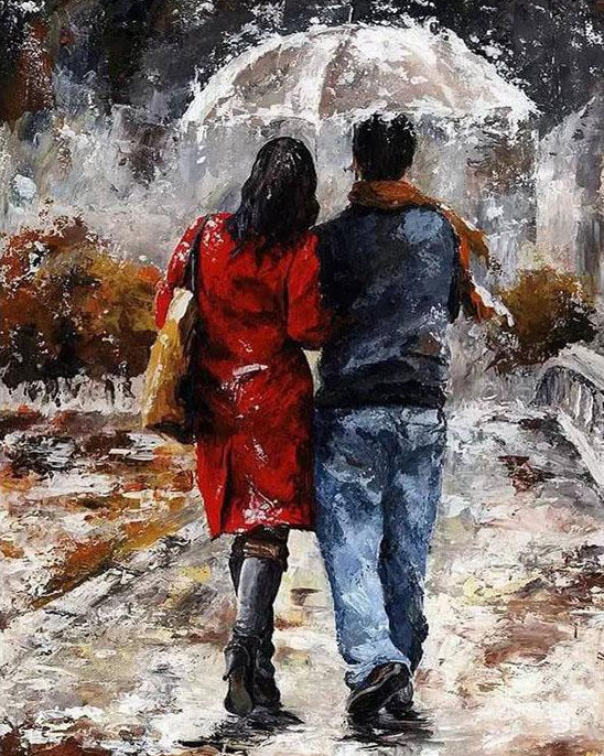 Couple in Rain Paint by Numbers