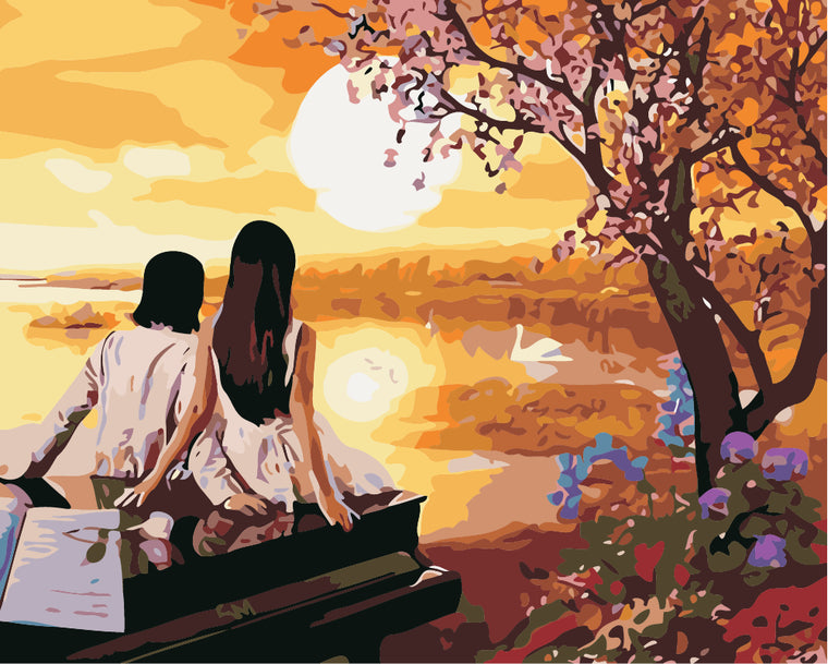 Couple & Sunset Paint by Numbers