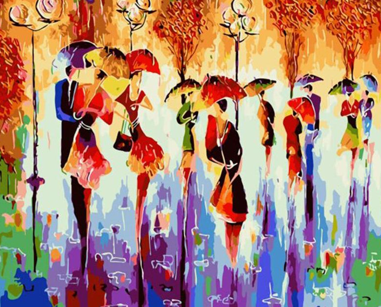 Couples With Umbrellas Abstract Art