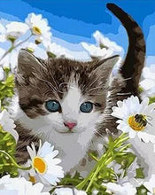 Load image into Gallery viewer, Cat & Daisies Paint by Numbers