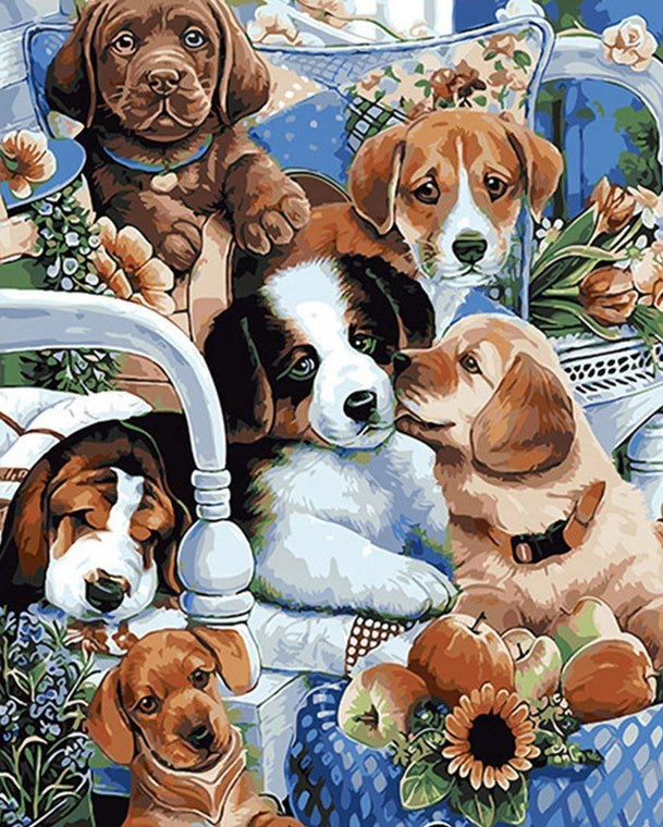 Cute Dogs Paint by Numbers