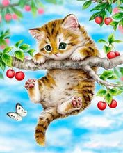 Load image into Gallery viewer, Kitten Hanging on Tree Paint by Numbers