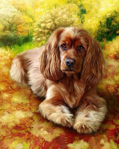 Cute Puppy Painting by Numbers