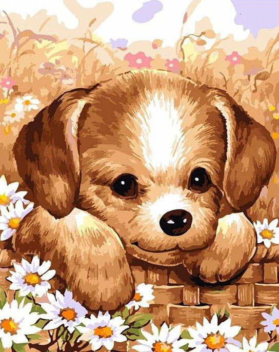 Cute Puppy Paint by Numbers