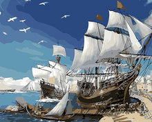 Load image into Gallery viewer, Docked & Sailing Boats Paint by Numbers
