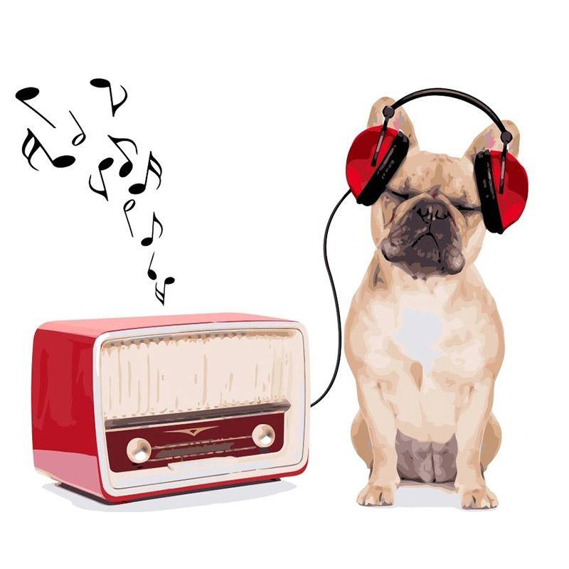 Dog Listening Music Paint by Numbers