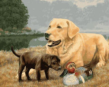 Load image into Gallery viewer, Dogs & Duck Painting by Numbers