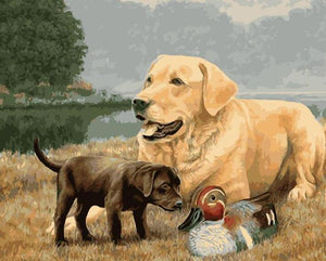 Dogs & Duck Painting by Numbers