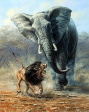 Load image into Gallery viewer, Elephant & Lion Paint by Numbers