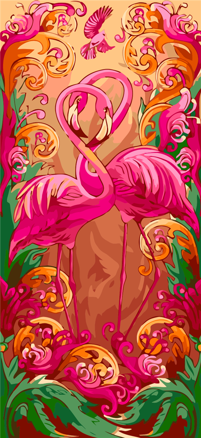 Flamingos Fantasy Paint by Numbers