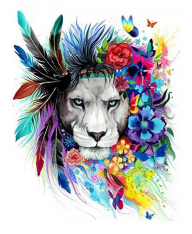 Floral Lion Art Paint by Numbers