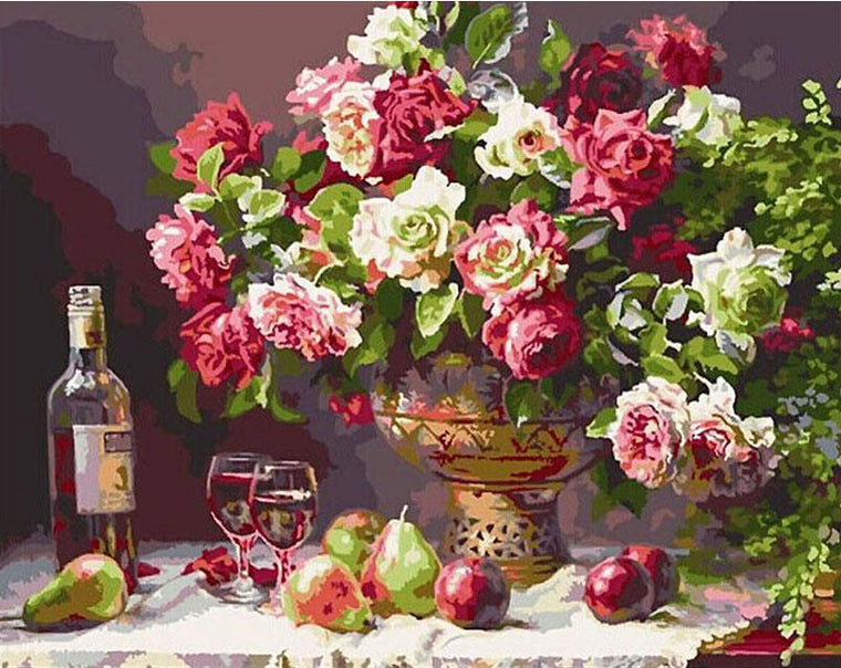 Fruits & Wine Glasses Paint by Numbers