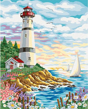 Load image into Gallery viewer, Flowers & Light House Paint by Numbers