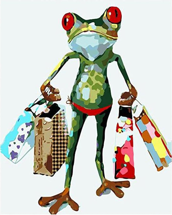 Funny Frog Shopping Paint by Numbers