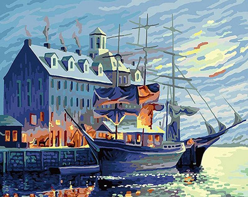 Ship at Harbor Paint by Numbers