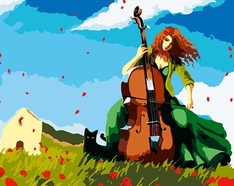 Girl Playing Violin Painting by Numbers