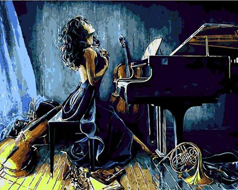 Girl Playing Piano Paint by Numbers