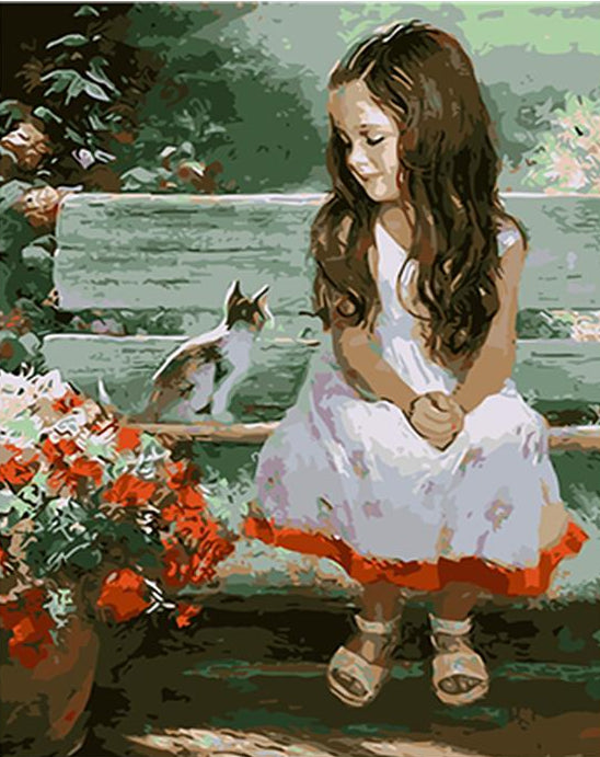 Girl & Cat Paint by Numbers