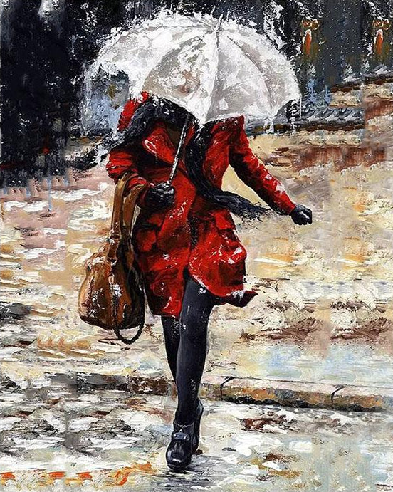Girl  in Rain Paint by Numbers