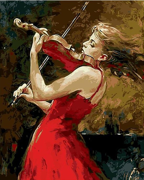 Girl in Red Paint by Numbers