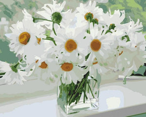 White Daisies Vase Paint by Numbers
