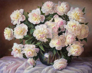 White Peonies Paint by Numbers