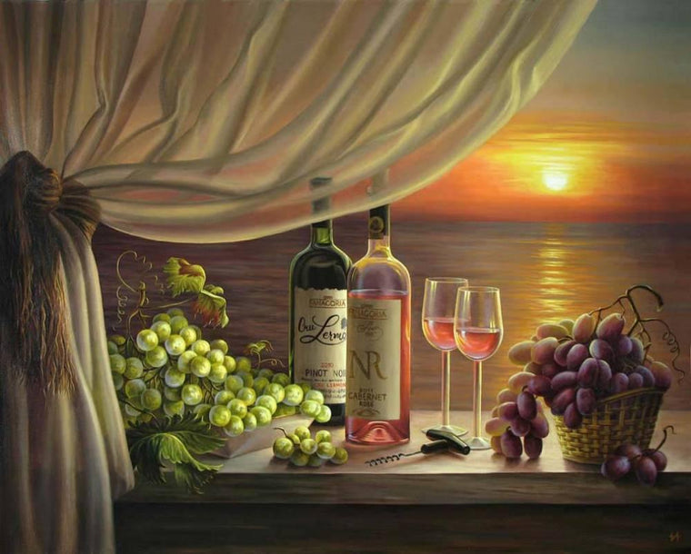 Wine & Sunset View Paint by Numbers Kit