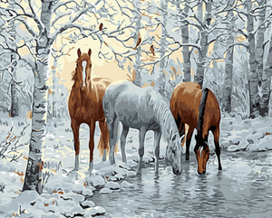 Horses at the Lake Paint by Numbers