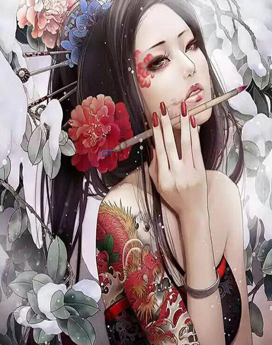 Japanese Girl Paint by Numbers