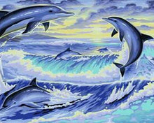 Load image into Gallery viewer, Jumping Dolphins Paint by Numbers Kit