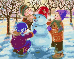 Kids & Snowman Paint by Numbers