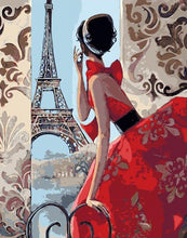 Load image into Gallery viewer, Lady & Eiffel Tower Paint by Numbers