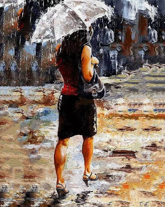 Lady on Rainy Street Paint by Numbers