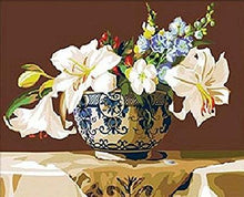 Load image into Gallery viewer, Lilies in Delft Paint by Numbers