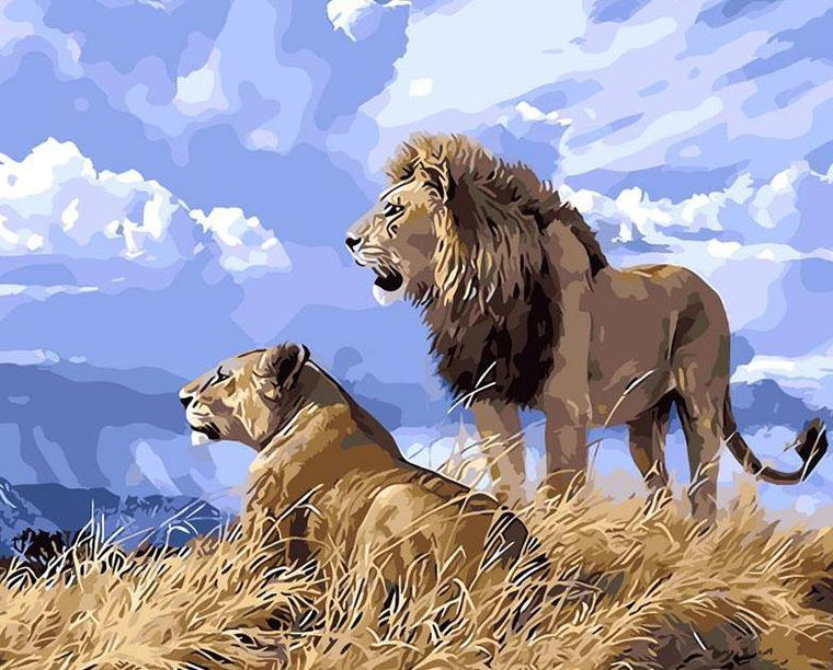 Lion Couple Painting by Numbers Kit