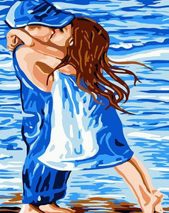 Little Kids Kissing Painting by Numbers