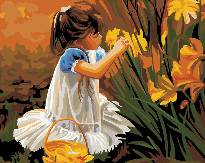 Girl Plucking Flowers Paint by Numbers