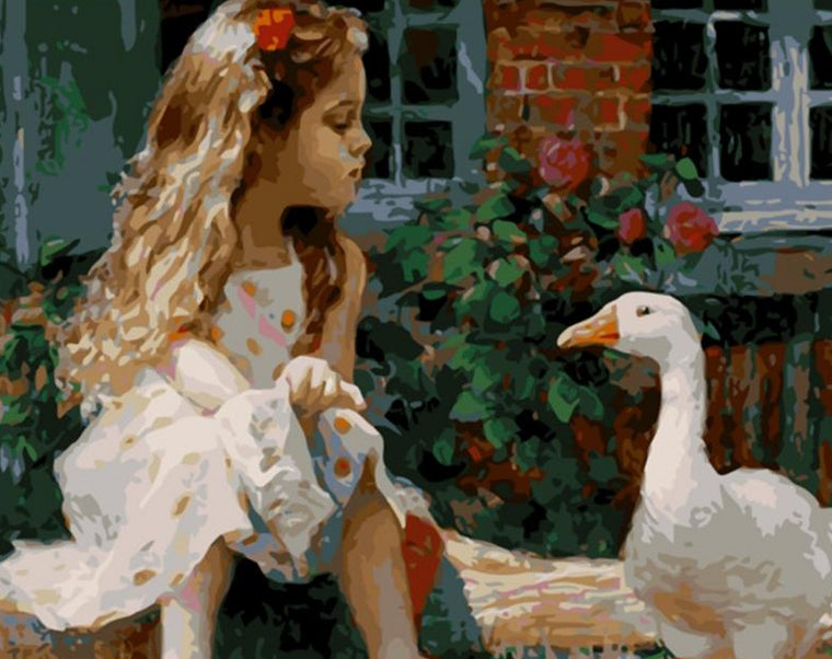 Girl &  Duck Paint by Numbers
