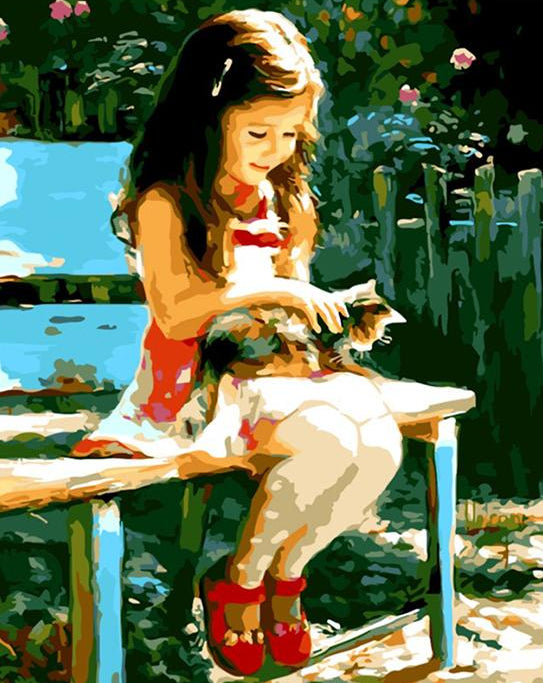Girl with Cat Paint by Numbers